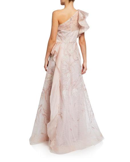 Rickie Freeman For Teri Jon Premier Embroidered Organza One-Shoulder Gown