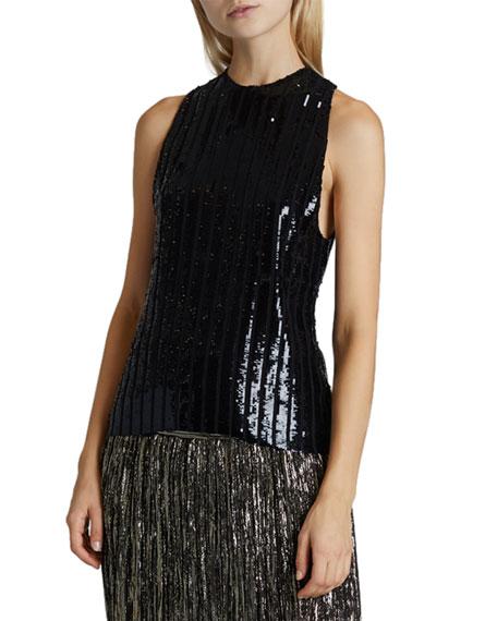 Saint Laurent Pleated Silk Sleeveless Top