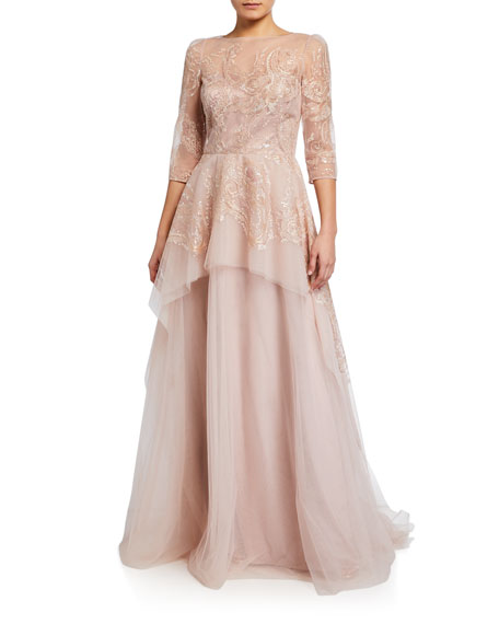 Image 1 of 2: Rickie Freeman For Teri Jon Premier Embroidered Tulle Peplum Gown