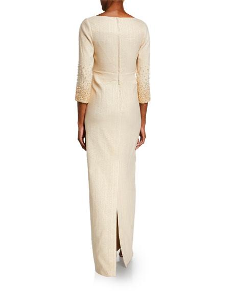 Rickie Freeman For Teri Jon Premier Jacquard 3/4-Sleeve Column Gown