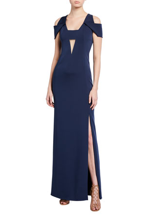 Akris Silk Cold-Shoulder Gown, Navy