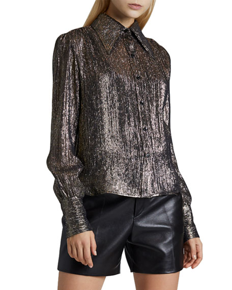 Saint Laurent Silk Button-Front Blouse