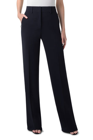 Akris Flore Full-Leg Stretch-Wool Pants