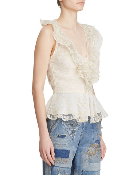 Ralph Lauren Collection Collisa Silk Lace Peplum Blouse