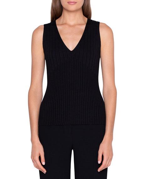Akris Ribbed Stretch-Silk Sweater