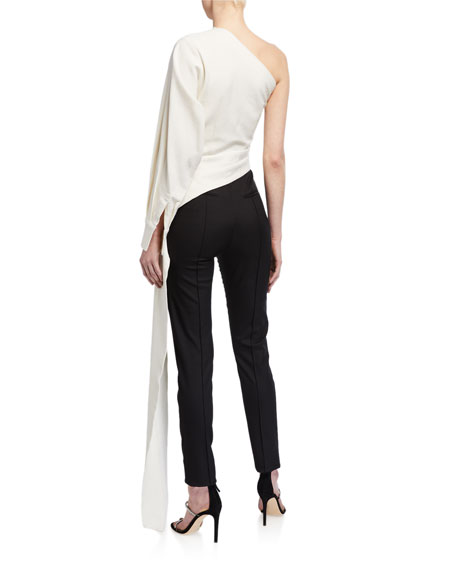 Brandon Maxwell One-Shoulder Blouse with Draped Sash