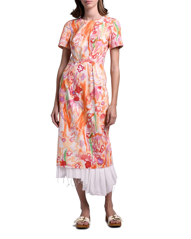 Marni Watercolor Floral Layered Dress