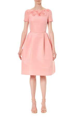 Carolina Herrera Embroidered Silk A-Line Dress