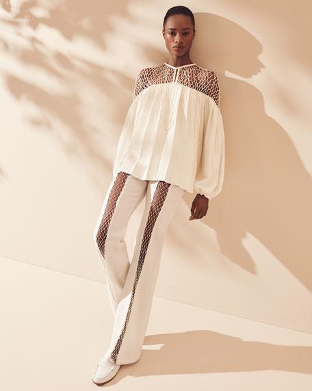 Gabriela Hearst Aglaia Long-Sleeve Blouse with Silk Macrame