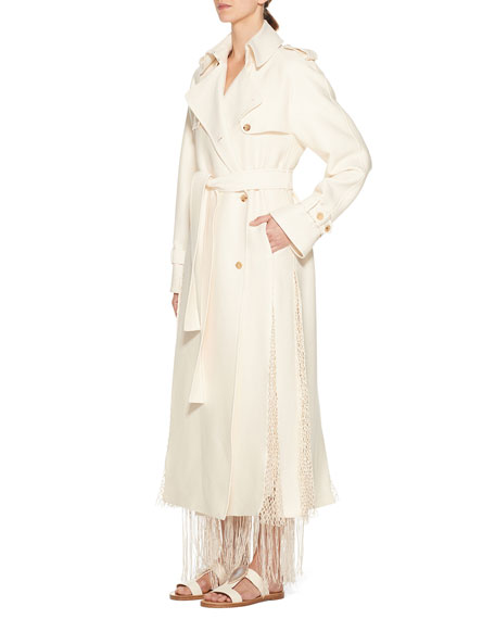 Gabriela Hearst Lipara Macrame-Trim Pleated Trench Coat