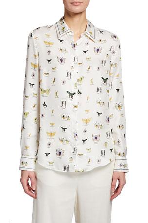 Gabriela Hearst Henri Butterfly Print Silk Shirt
