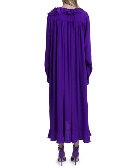 Image 2 of 4: Victoria Beckham Ruffle Long-Sleeve Silk Shirtdress