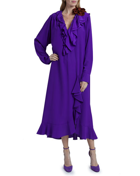 Image 3 of 4: Victoria Beckham Ruffle Long-Sleeve Silk Shirtdress