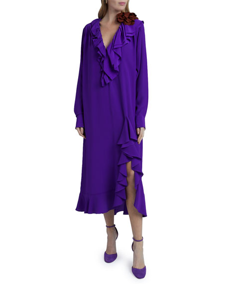 Image 4 of 4: Victoria Beckham Ruffle Long-Sleeve Silk Shirtdress