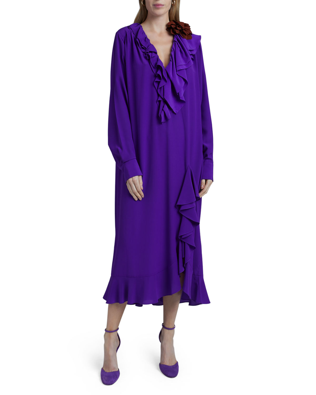 Victoria Beckham Ruffle Long-Sleeve Silk Shirtdress