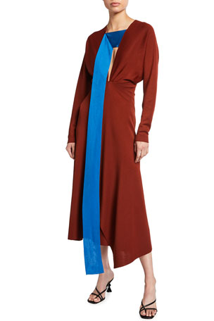Victoria Beckham Batwing-Sleeve Draped Midi Dress