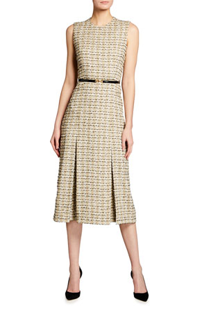 Victoria Beckham Pleated Cotton Midi Dress