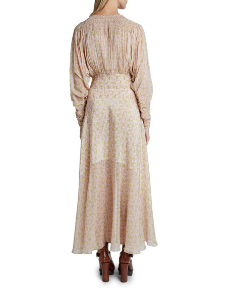 Chloe Edelweiss Print Silk Georgette Dress