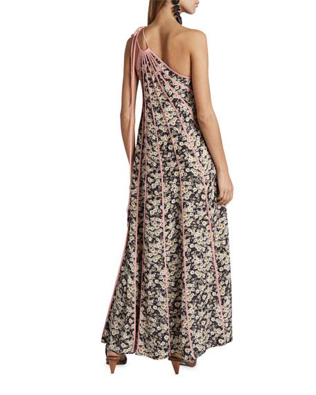 Stella McCartney Daisy-Print Seamed One-Shoulder Maxi Dress