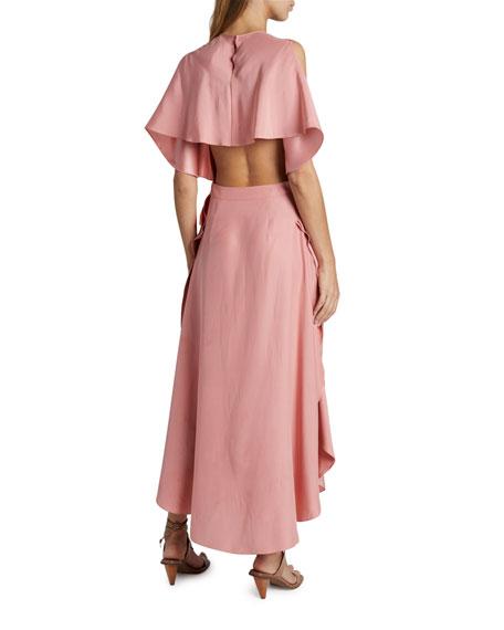 Stella McCartney Satin Sleeveless Cape-Back Midi Dress