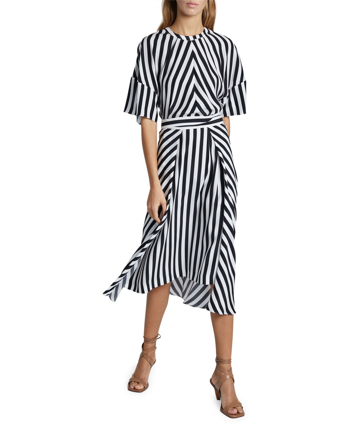 Stella McCartney Striped Short-Sleeve Midi Dress with Belt