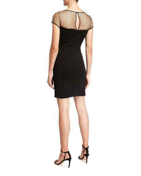 Image 2 of 3: CDGNY Kinsley Studded Mesh Cocktail Dress