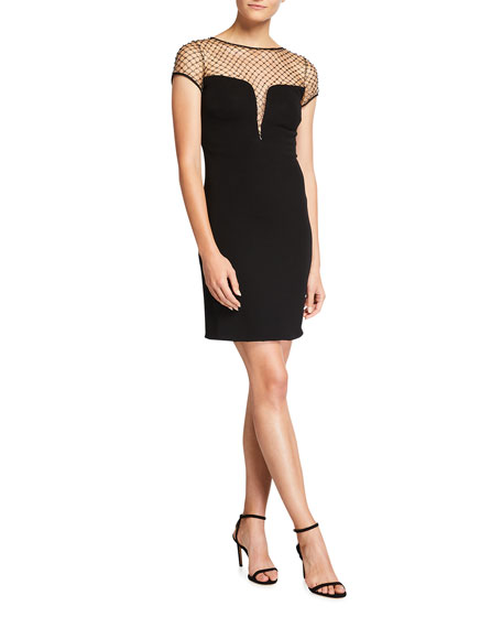 Image 1 of 3: CDGNY Kinsley Studded Mesh Cocktail Dress