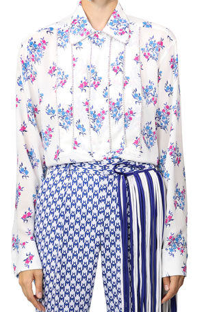 Area Floral Print Stretch Crepe Shirt