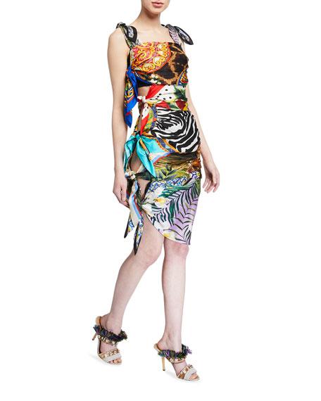 Dolce & Gabbana Silk Scarf-Tied Bodycon Dress