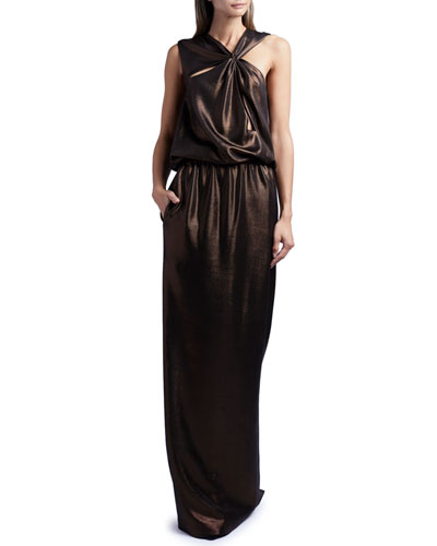 Sleeveless Cutout Laminated Jersey Gown