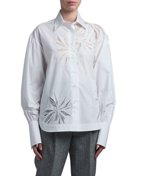 Ermanno Scervino Floral-Inset Cotton Oversized Shirt