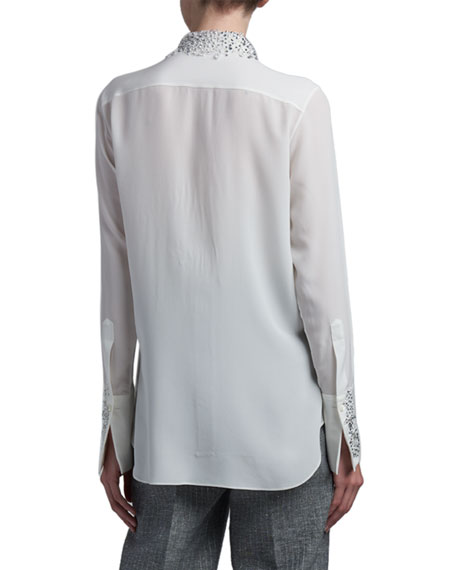Ermanno Scervino Crystal Beaded Silk Top