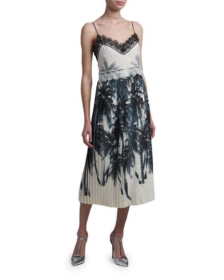 Ermanno Scervino Silk Spaghetti Strap Midi Dress