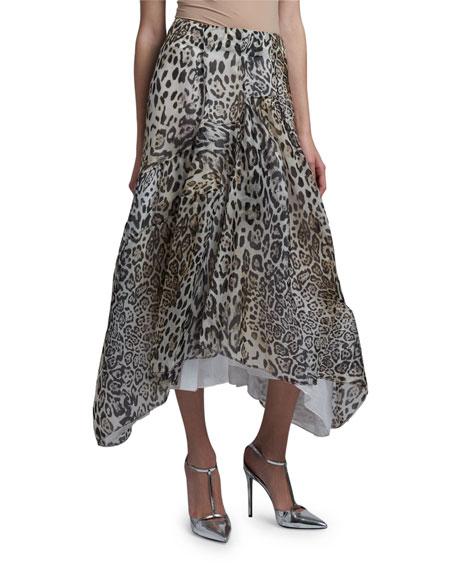 Ermanno Scervino Leopard Print Asymmetric Ruffled Skirt