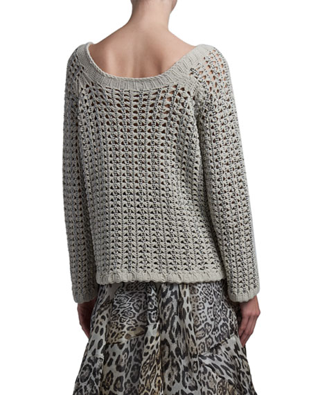 Ermanno Scervino Long-Sleeve Crewneck Sweater