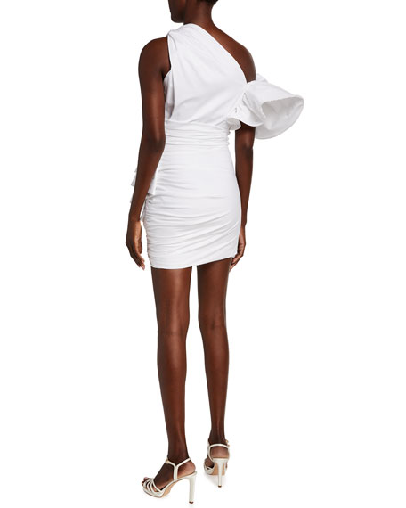 Redemption Ruffled Poplin One-Shoulder Mini Dress