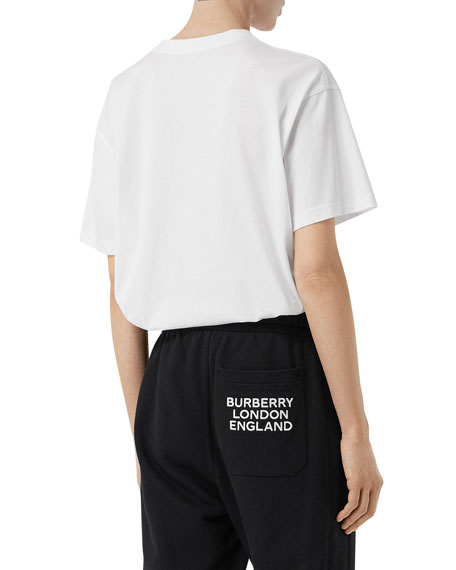 Burberry Emerson Oversized T-Shirt with TB Monogram, White