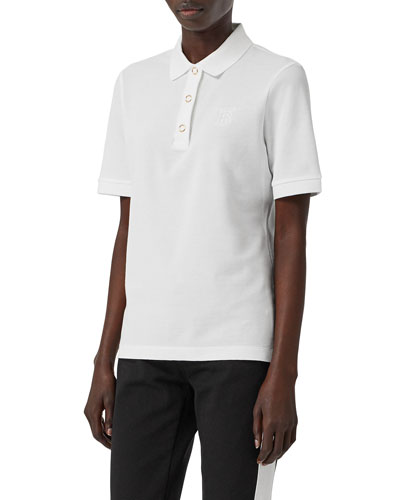 Femme-Fit Ring-Snap Cotton Polo Shirt  White