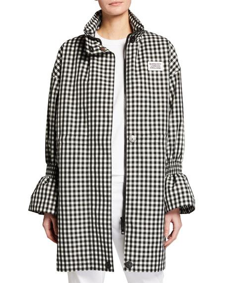 Burberry Neston Gingham Flare-Cuff Jacket