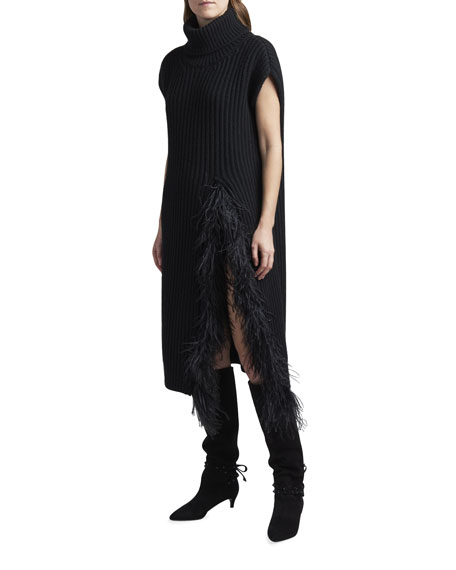 Image 2 of 3: Valentino Fringed Wool-Cashmere Short-Sleeve Sweater