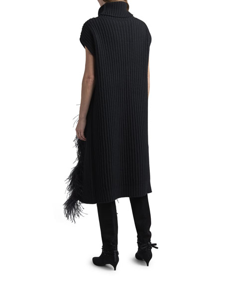Image 3 of 3: Valentino Fringed Wool-Cashmere Short-Sleeve Sweater