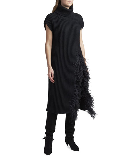 Image 1 of 3: Valentino Fringed Wool-Cashmere Short-Sleeve Sweater