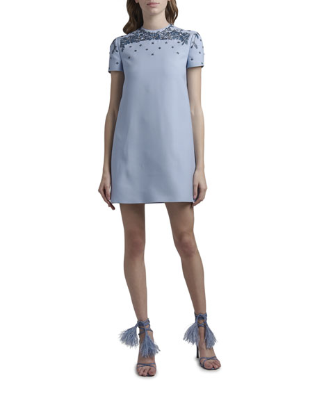 Image 1 of 2: Valentino Embroidered Neck Shift Dress