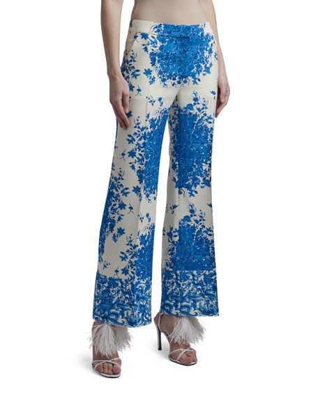 Image 2 of 3: Valentino Floral Print Flare-Leg Crepe Pants