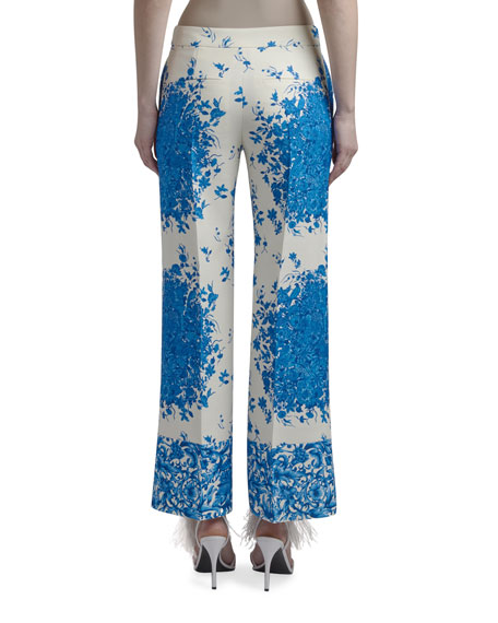 Image 3 of 3: Valentino Floral Print Flare-Leg Crepe Pants