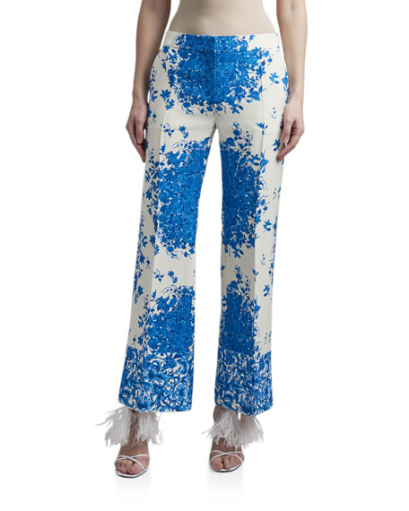Image 1 of 3: Valentino Floral Print Flare-Leg Crepe Pants