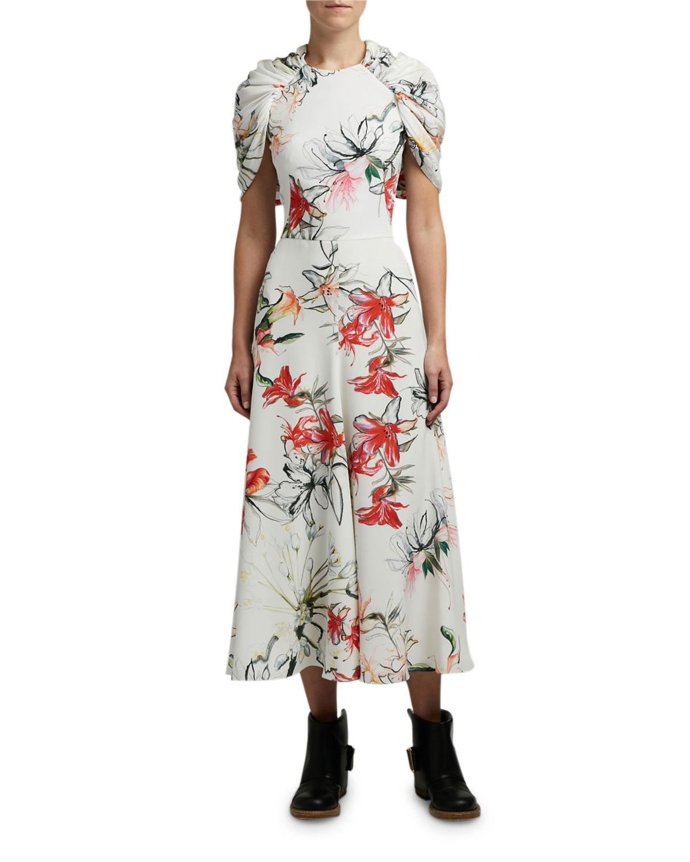 Alexander McQueen Floral-Print Cape-Sleeve Dress