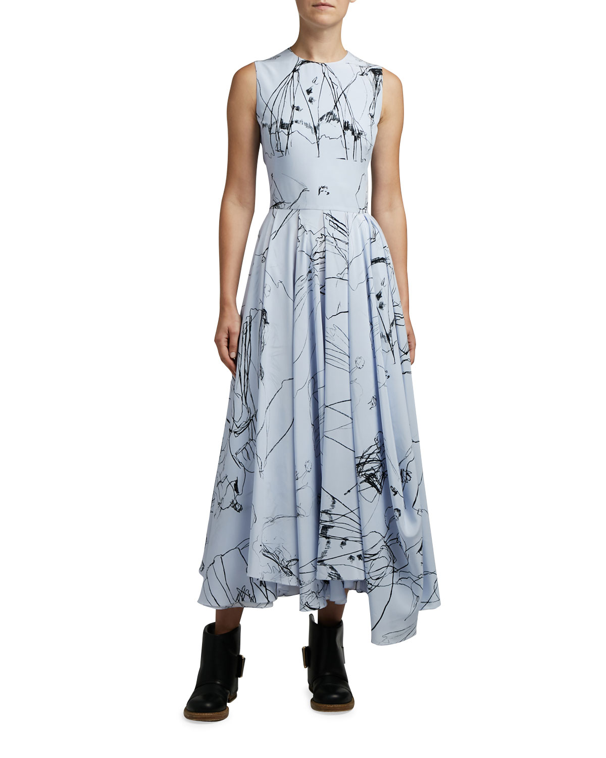 Alexander McQueen Dancing Girl Print Silk Dress