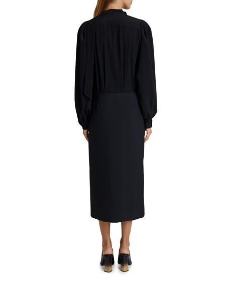 Givenchy Silk V-Neck Midi Dress