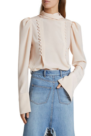 Givenchy High-Neck Draped Collar Blouse